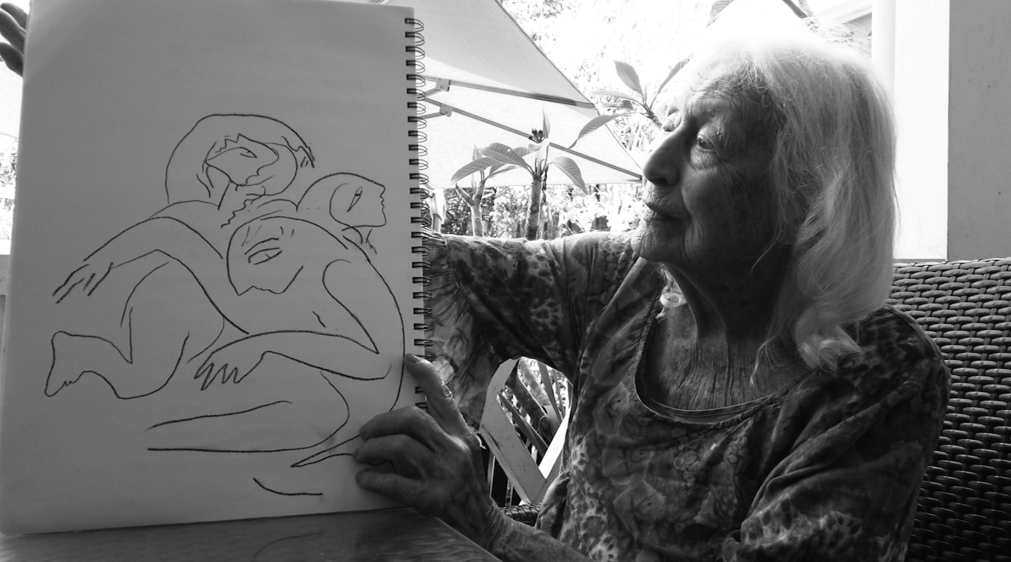 Eileen Kramer with one of her sketches used in developing the choreography for 'Our Lady of the Horizon'